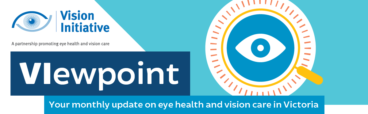 Vision Initiative newsletter banner including Vision Initiative logo and artwork of an eye inside a magnifying glass alongside the text: