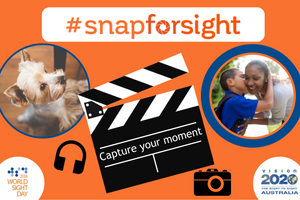 #snapforsight logo, a clapperboard with the words 'capture your moment', headphones and camera. A photo of a puppy and another photo of a little boy giving his mum a kiss. It's easy to get involved with #snapforsight, capture your moment using image, video or audio file and share on social media with the hashtag #snapforsight.