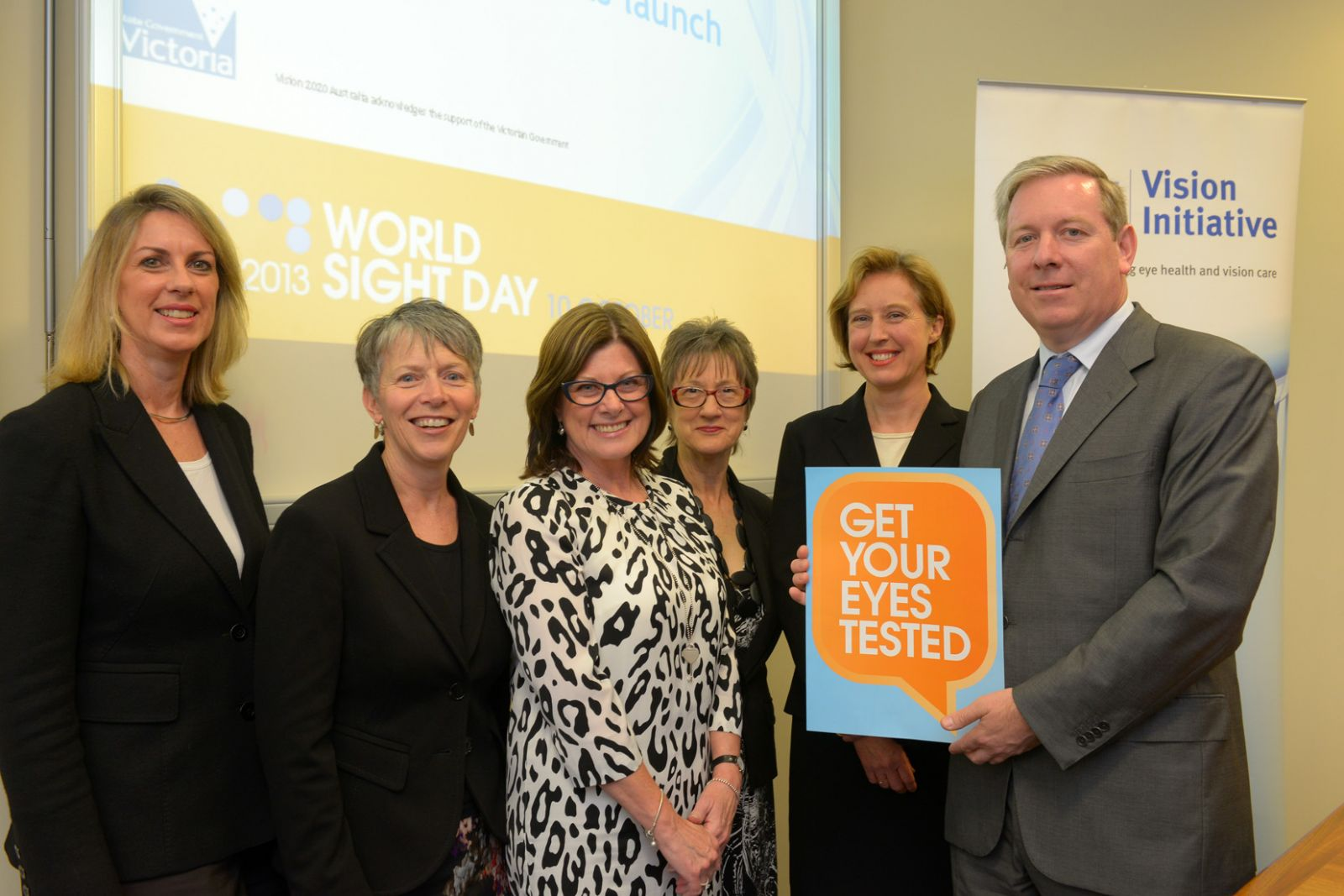 From left to right: Georgie Crozier MLC (Victorian Parliamentary Secretary for Health), Terri Smith (CEO, Optometrists Association Australia – Victoria), Jennifer Gersbeck (CEO, Vision 2020 Australia), Helen Threlfall (Deputy CEO, General Practice Victoria), Maureen O'Keefe (CEO, Australian College of Optometry) and the Hon David Davis MLC (Victorian Minister for Health).